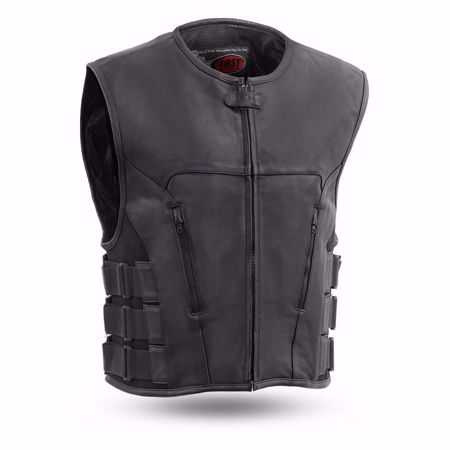 Picture of First Mfg. Men's Leather Vest - Commando Swat Style Leather Club Vest